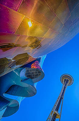 Space Needle And Emp In Perspective Hdr Poster