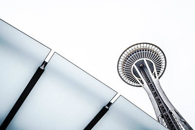 Poster featuring the photograph Space Needle On White by Wade Brooks