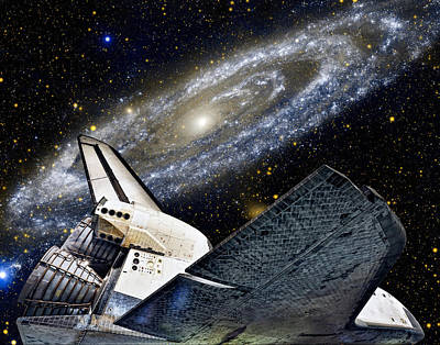 Space Shuttle And Andromeda Galaxy Poster