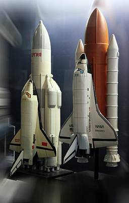 Space Shuttle And Buran Spacecrafts Poster by Detlev Van Ravenswaay