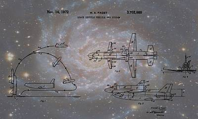 Space Shuttle And Capsule Patent Poster by Dan Sproul