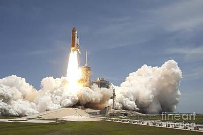 Space Shuttle Atlantis Rumbles Poster by Stocktrek Images