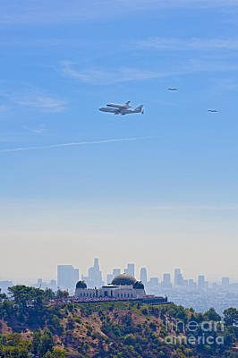 Space Shuttle Endeavour And Chase Planes Over The Griffith Observatory Poster by David Zanzinger