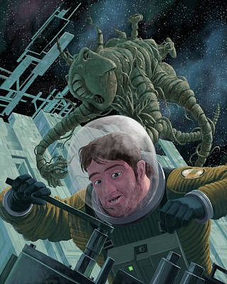 Space Station Monster Poster by Martin Davey