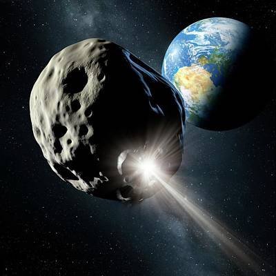 Spacecraft Colliding With Asteroid Poster by Detlev Van Ravenswaay