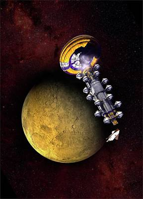 Spacecraft In Mars' Orbit Poster by Victor Habbick Visions