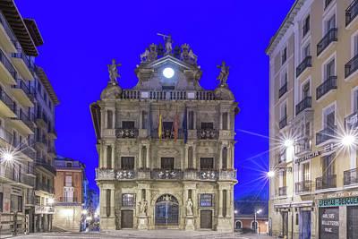 Spain, Pamplona, City Hall At Dawn Poster