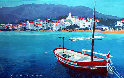 Spain Series 08 Cadaques Red Boat Poster by Yuriy Shevchuk