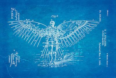 Spalding Flying Machine Patent Art  2 1889 Blueprint Poster by Ian Monk