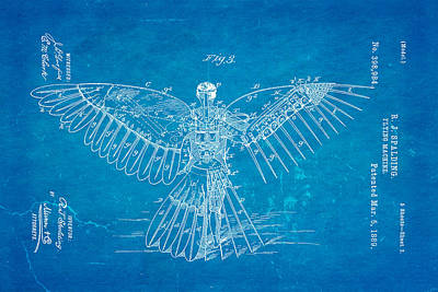 Spalding Flying Machine Patent Art  3 1889 Blueprint Poster by Ian Monk