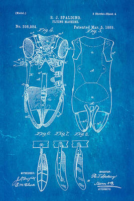 Spalding Flying Machine Patent Art  4 1889 Blueprint Poster by Ian Monk