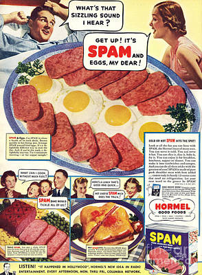Spam 1960s Usa Hormel Meat Tinned Poster