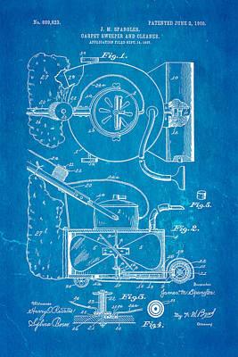 Spangler Carpet Cleaner Patent Art 1908 Blueprint Poster by Ian Monk