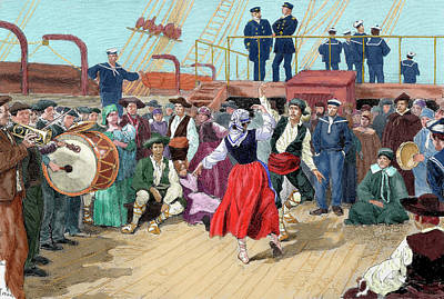 Spanish Emigrants On Board A Ship Poster by Prisma Archivo
