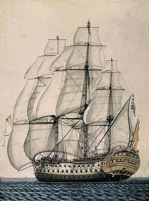 Spanish Ship Sant�sima Trinidad  With 4 Poster by Everett