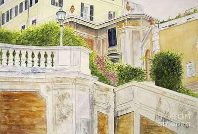 Poster featuring the painting Spanish Steps by Carol Flagg
