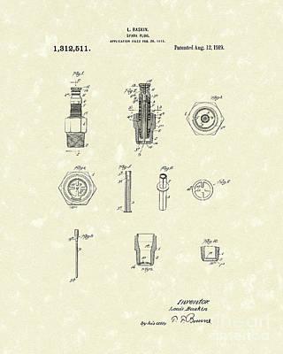 Spark Plug 1919 Patent Art Poster