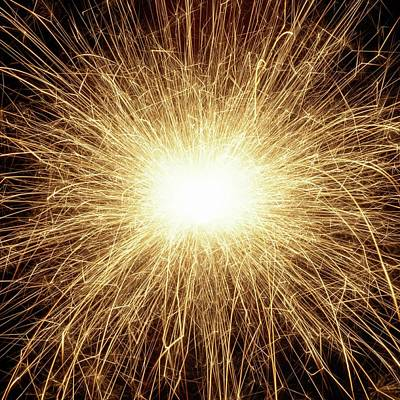 Sparkler And Sparks Poster by Science Photo Library