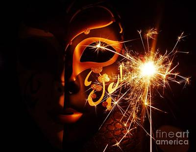 Sparklings Of Venetian Mask Poster by AmaS Art