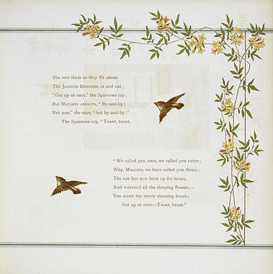 Sparrows And Jasmine Blossoms Poster by British Library