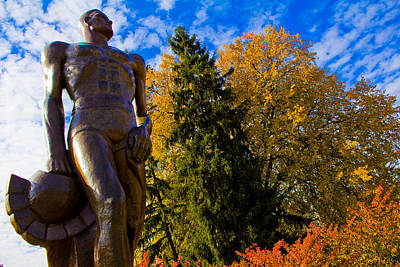 Sparty From Below In Autumn Poster by John McGraw