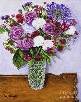 Special Bouquet In Crystal Vase On Heirloom Table Poster by Gail Darnell