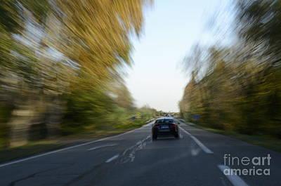 Speeding Car On Highway Poster by Sami Sarkis
