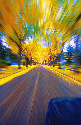 Speeding Down A Road In Autumn Poster by Don Hammond