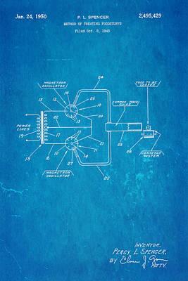 Spencer Microwave Patent Art 1950 Blueprint Poster