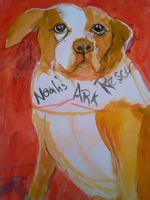 Poster featuring the painting Spencer The Pit Bull by Gertrude Palmer