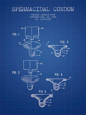 Spermacidal Condom Patent From 1986 - Blueprint Poster by Aged Pixel