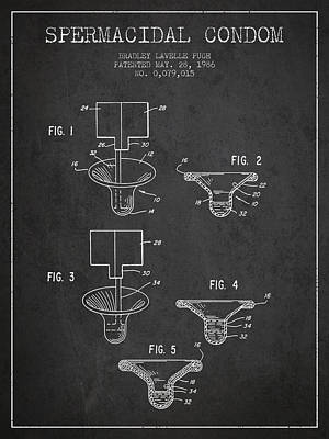 Spermacidal Condom Patent From 1986 - Charcoal Poster by Aged Pixel