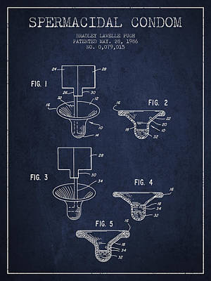Spermacidal Condom Patent From 1986 - Navy Blue Poster by Aged Pixel