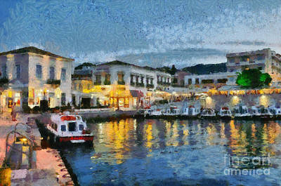 Spetses Town During Dusk Time Poster