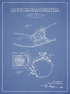 Sphygmomanometer Patent Drawing From 1955 - Light Blue Poster by Aged Pixel
