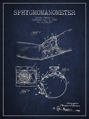 Sphygmomanometer Patent Drawing From 1955 - Navy Blue Poster by Aged Pixel