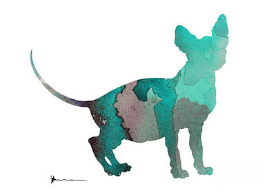 Sphynx Cat Silhouette Art Print Poster by Joanna Szmerdt