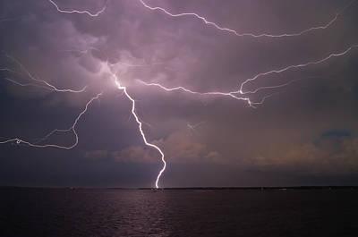 Spider Lightning Over Charleston Harbor Poster