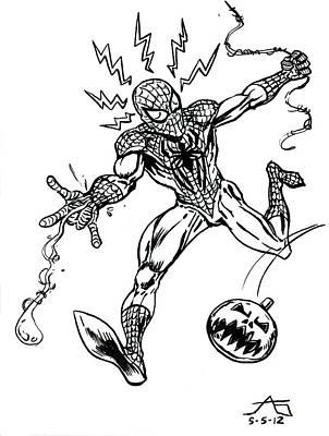 Spidey Dodges A Pumpkin Bomb Poster