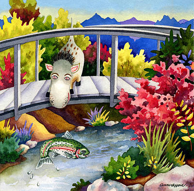 Spike The Dhog Watches A Jumping Trout Poster by Anne Gifford