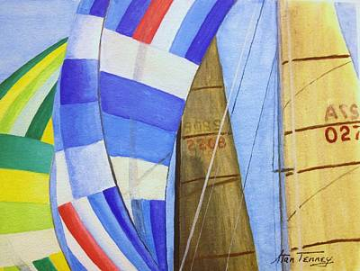 Poster featuring the painting Spinnakers by Stan Tenney