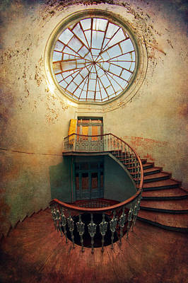 Spiral Staircase And Big Round Window Poster by Jaroslaw Blaminsky