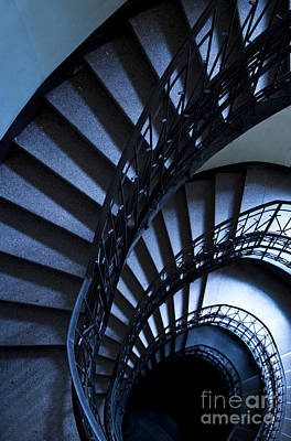 Spiral Stairs In Blue Poster by Jaroslaw Blaminsky