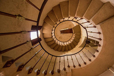Spiral Stairway In Scotty's Castle Poster by Chuck Haney