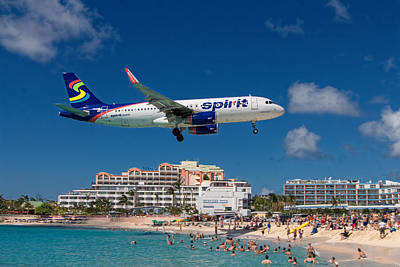Spirit Airlines Low Approach To St. Maarten Poster