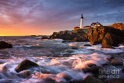 Portland Head Light Splash Poster