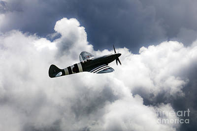 Spitfire Cloudy Skies  Poster by J Biggadike