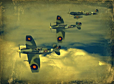 Poster featuring the photograph Spitfire Flight by Steven Agius