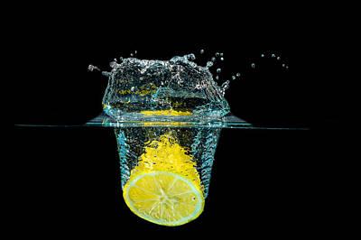 Splashing Lemon Poster by Peter Lakomy