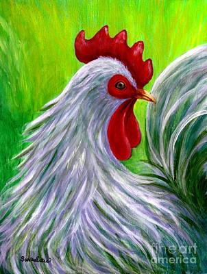 Poster featuring the painting Splashy Rooster by Sandra Estes